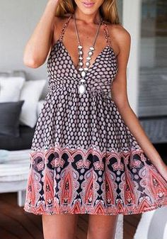 This printed V neck dress featuers a plunging halter neckline with self-tie straps for a comfortable fit. Complete your summer outfit by pairing this dress with an oversized hat and some flip flops.   Lookbook Store Dress