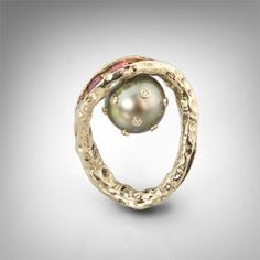 Ring made from 14K gold with diamonds, sapphires and pearl by German Kabirski