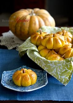 Pumpkin Dinner Rolls This dough is soft and tender with a hint of sweetness. But you can use any of your favorite dinner roll recipes to shape these cute minis. These are easier than they look. The stems here are made of pecans.