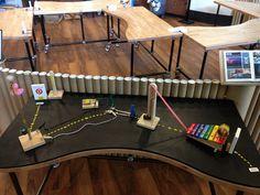 Tinkering Studio chain reaction set-up Chain Reaction, Electronic Art, Stem Activities, Lab, Classroom, Studio, School, Ideas, Class Room