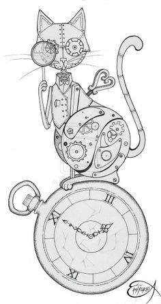 The original drawing of my clockwork owl here [link] you can find the digital postproduction technique: ink and pencil on paper Steampunk Clockwork Owl WIP Steampunk Drawing, Steampunk Kunst, Steampunk Gears, Steampunk Design, Coloring Book Pages, Printable Coloring Pages, Gear Drawing, Steampunk Animals, Brainstorm