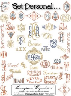 Monogram Wizard Plus ideas.  Click on a monogram and it will take you to a page that tells you how to do it