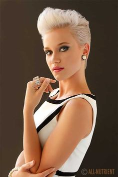 Super short platinum pomp! Sweet but fierce!