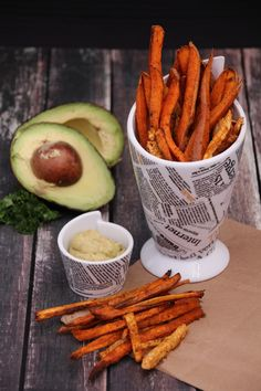 root fries with roasted garlic avocado mayo