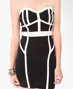 Contrast Black White Bandage Dress Sz S | eBay