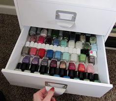 The perfect storage for a larger-than-average nail polish collection! I NEED THIS ASAP Nail Polish Blog, Nail Polish Storage, Nail Polish Collection, Makeup Collection, Makeup Storage, Jewelry Organization, Nail Room, Paint Shop, Nail Care