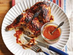 Grilled Chicken with Peach Pickle BBQ Sauce from the new #ChoppedCookbook