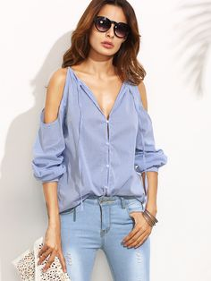 Shop Striped Tie Neck Cold Shoulder Blouse online. SheIn offers Striped Tie Neck Cold Shoulder Blouse & more to fit your fashionable needs.
