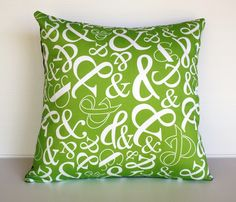 Green decorative pillow cushion cover Ampersand by mybeardedpigeon, $49.00
