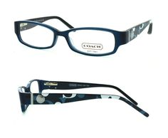 """Coach Optical Eyeglass Frames:  Bernice 844/15 Teal.  eye size:  51mm (horizontal width of frame).  bridge:  15mm (distance between lens).  """"b"""" size:  26mm (vertical height of lens).  total frame width:  126mm (temple to temple).  spring hinges:  yes.  temple length:  135mm."""