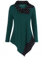 Polka Dot Patchwork Asymmetrical T-Shirt - MALACHITE GREEN XL