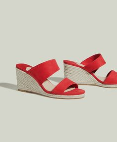 Jute wedges with double straps, 65.95лв - Red jute slingback wedges with asymmetric double straps. Wedge height: 7.5cm. - Autumn Winter 2017 trends in women fashion at Oysho online. Lingerie, pyjamas, sportswear, shoes, accessories, body shapers, beachwear and swimsuits & bikinis.