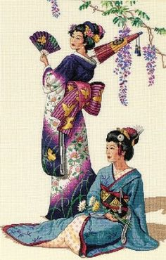 The Gold Collection Counted Cross Stitch Kit - Jewels of the Orient (Geisha) - NEW in Package Cross Stitching, Cross Stitch Embroidery, Hand Embroidery, Cross Stitch Designs, Cross Stitch Patterns, Dimensions Cross Stitch, Art Asiatique, Needlepoint Kits, Counted Cross Stitch Kits