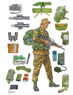 """LRP Patrol equipment: In 1968 the woodlands pattern camouflage jungle uniform began replacing tigerstripes to provide a more functional, better-fitting uniform"""