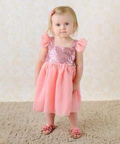Look what I found on #zulily! Just Couture Pink Sequin Angel-Sleeve Dress - Infant, Toddler & Girls by Just Couture #zulilyfinds