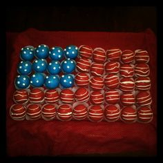 4th of July cake truffles/cake pops made into an American flag with stars and stripes! This was fun :)