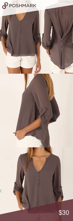 PRETTY TAN CHIFFON BLOUSE 💕 Great for dressing up or business professional.  Throw on a blazer over it and look fabulous! Buttons up the back. It's medium length.  Gorgeous blouse also available in black & dark deep red (wine color) ✔️please comment to me to make sure I have your size in stock ⚫️PRICE IS FIRM Tops Blouses