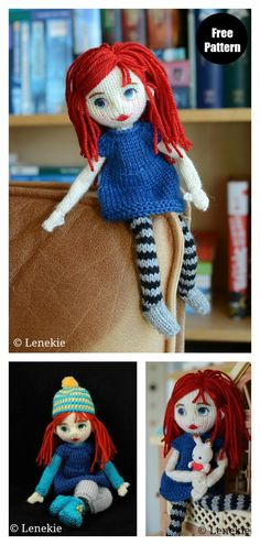 The Adorable Doll Free Knitting Pattern is an ideal project when you have some cool scrap yarns to be used for dress, hair or some accessories. Knitted Dolls Dress Pattern, Knitting Dolls Free Patterns, Knitted Dolls Free, Knitting For Kids, Crochet Dolls, Free Knitting, Baby Knitting, Knitting Toys, Knitted Baby