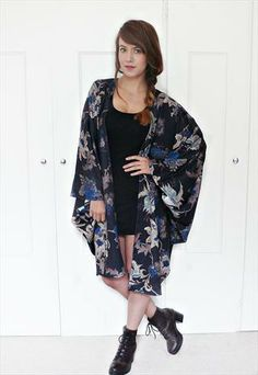 Heavy vintage inspired floral kimono cape jacket