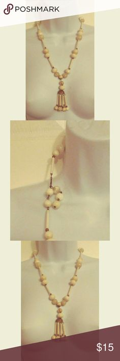 Vintage Cream Lucite Filagree Necklace Good Pre-Owned Condition. Needs a Good Cleaning!! Jewelry Necklaces