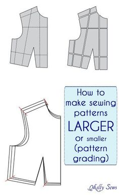 Sewing Techniques How to make Sewing Patterns Bigger (or smaller) - Melly Sews - Pattern Grading - How to make a sewing pattern bigger or smaller - sewing pattern grading - make a sewing pattern a different size Sewing Basics, Sewing Hacks, Sewing Tutorials, Sewing Crafts, Sewing Tips, Pattern Drafting Tutorials, Sewing Ideas, Basic Sewing, Techniques Couture