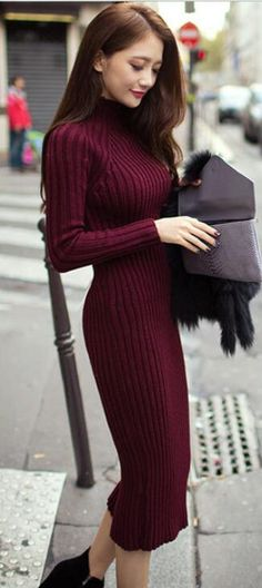 39ab60a24ac29 Fashion Ribbed High Neck Long Sleeve Knit Long Sweater Dress