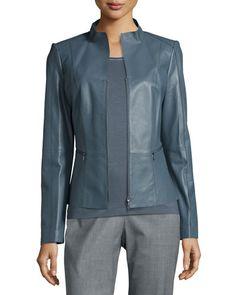 TAQ2T Lafayette 148 New York Ambella Lambskin Leather Jacket