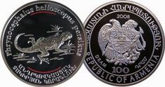 Armenia 2008 Endangered Species - Toad-Headed Sunwatcher Agama Lizard 100 Dram Silver Proof with Color