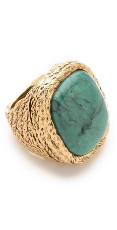 Aurelie Bidermann Miki Dora Rope Ring with Turquoise Stone | SHOPBOP