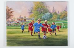 Little League Soccer Game by David Craig, Canadian Artist Soccer Games, Play Soccer, Canadian Artists, Past, Psychology, David, Painting, Games Of Football, Psicologia