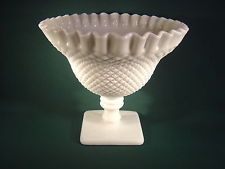 "Westmoreland English Hobnail 6 1/2"" Milk Glass Compote - Crimped Rim -  EH127"