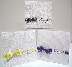 love this idea emboss top 2/3, score two lines for ribbon width and sentiment, emboss rest of card.