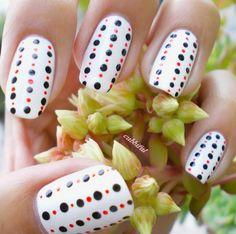 White nails with black and red beaded curtain polka dots nail art. #nails #nailart #nailpolish #manicure