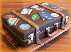 Suitcase Is Actually A Cake. Extraordinary In Conjunction With Destination Wedding Celebrations. Martha_Stewart_Luggage_By_K. Luggage Cake, Suitcase Cake, Bolo Chanel, Gateau Harry Potter, Farewell Cake, Cupcakes Decorados, Travel Cake, Fathers Day Cake, Retirement Cakes
