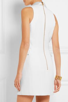 Balmain | Double-breasted silk satin-trimmed basketweave mini dress | NET-A-PORTER.COM