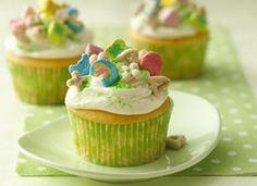 Making Lucky Charms cupcakes for St. Patty's Day. Also on the menu is potato soup and Irish Soda Bread.
