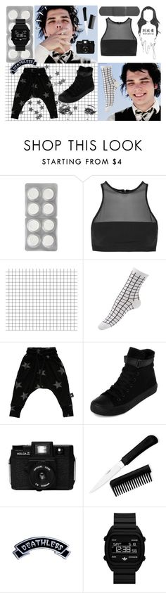 """""""All you Diamonds out there, All you Rubies, Be Bright."""" by hellaheck ❤ liked on Polyvore featuring T By Alexander Wang, Nununu, yeswalker, Kreepsville 666, Old Navy, adidas Originals, black, mcr, gerardway and mychemicalromance"""