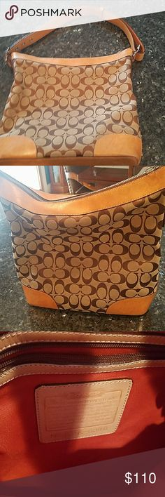 Authentic Vintage  Coach Signature shoulder bag Coach vintage shoulder bag.  In very good condition.  Missing leather pull for zipper.  Thanks for looking?? Coach Bags Shoulder Bags
