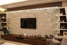 19 Super Ideas For House Modern Interior Design Fireplaces Modern Tv Room, Modern Tv Wall Units, Stone Wall Design, Tv Wall Design, Design Design, Home Living Room, Living Room Decor, Tv Wanddekor, Tv Cabinet Design
