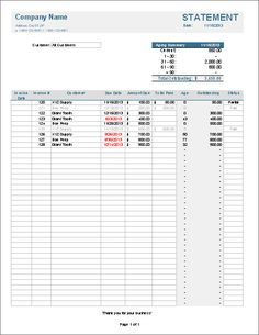 Download A Billing Statement Spreadsheet For Excel And Use It For