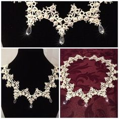 Vintage ivory tatted lace necklace on Etsy, £75.00
