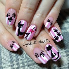 Instagram photo by  cynfulnails cat style fingernail polish design paw prints