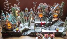 Halloween village setup idea *C Lemax Christmas Village, Christmas Gingerbread House, Halloween Village, Christmas Town, Magical Christmas, Christmas Scenes, Christmas Villages, Christmas Art, Christmas Lights