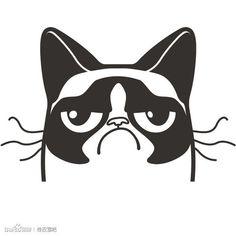 Grumpy Cat Logo on Behance Cat Face Pumpkin, Cat Outline, Inspiration Artistique, Cat Clipart, Pumpkin Carving Patterns, Grumpy Cat Humor, Grumpy Cat Shirt, Angry Cat, Cat Silhouette