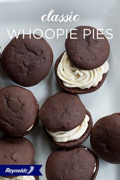Take a trip back in time with these Classic Whoopie Pies! Light, fluffy, and filled with sweet cream, these desserts may just become your new favorite. They're easy to make, too, which makes them even tastier. Line your baking sheet with Reynolds® Parchment Paper, available in rolls or pre-cut sheets, for cookies that don't stick and fast, easy cleanup.