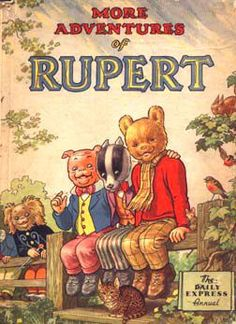 1953 Annual with Pong-Ping the Pekingese, Algy Pug, Bill Badger and Rupert the Bear. Written and illustrated by Alfred Bestall. 1970s Childhood, My Childhood Memories, Childhood Toys, Children's Comics, Animated Cartoons, Vintage Children's Books, Children's Book Illustration, Book Illustrations, Childrens Books
