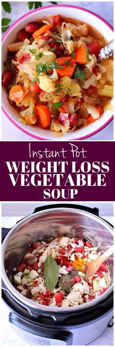 Instant Pot Weight Loss Vegetable Soup Recipe - hearty and filling vegetable soup made in electric pressure cooker. Helps to detox and loose weight.