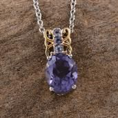Purple Quartz (Ovl 3.20 Ct), Catalina Iolite Pendant in 14K YG and Platinum Overlay Sterling Silver Nickel Free With Stainless Steel Chain (20 in) TGW 3.350 cts.