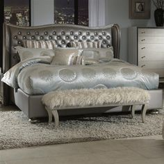 Hollywood Swank California King Graphite Leather Bed By Aico Amini
