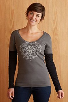 Green 3 Apparel Long-sleeve V-neck Medallion USA-made Organic Tee